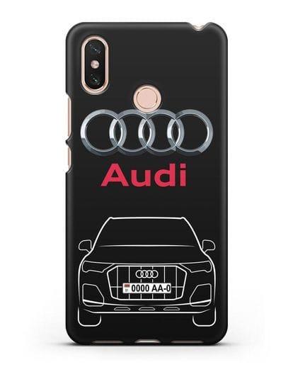 Чехол Audi Q7 с номерным знаком силикон черный для Xiaomi Mi Max 3