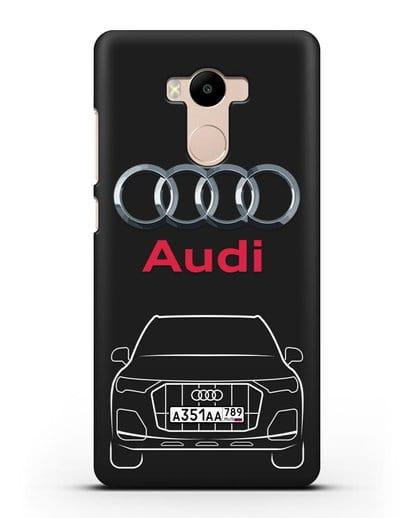 Чехол Audi Q7 с номерным знаком силикон черный для Xiaomi Redmi 4 Pro