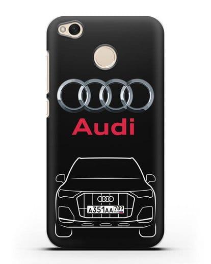 Чехол Audi Q7 с номерным знаком силикон черный для Xiaomi Redmi 4X