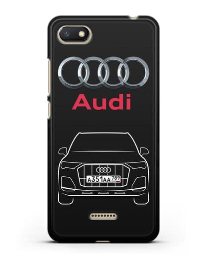 Чехол Audi Q7 с номерным знаком силикон черный для Xiaomi Redmi 6A
