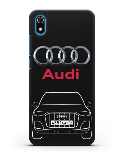 Чехол Audi Q7 с номерным знаком силикон черный для Xiaomi Redmi 7A