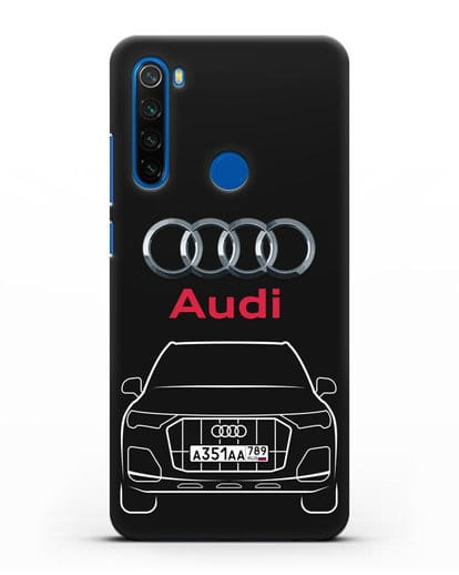 Чехол Audi Q7 с номерным знаком силикон черный для Xiaomi Redmi Note 8T