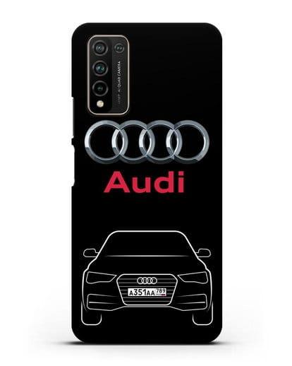 Чехол Audi A4 с номерным знаком силикон черный для Honor 10X Lite
