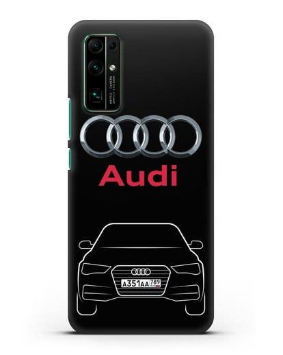 Чехол Audi A4 с номерным знаком силикон черный для Honor 30