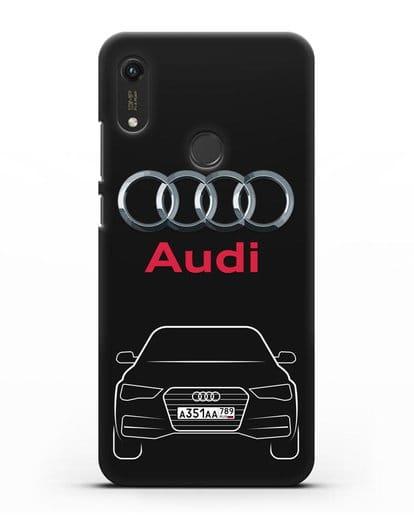 Чехол Audi A4 с номерным знаком силикон черный для Honor 8A Prime