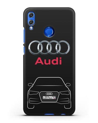 Чехол Audi A4 с номерным знаком силикон черный для Honor 8X