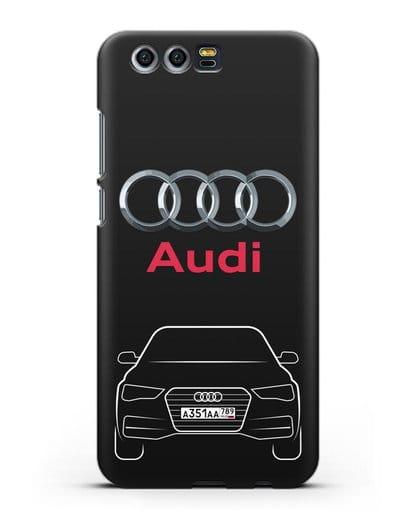 Чехол Audi A4 с номерным знаком силикон черный для Honor 9
