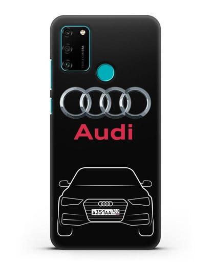 Чехол Audi A4 с номерным знаком силикон черный для Honor 9A