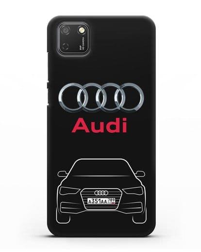 Чехол Audi A4 с номерным знаком силикон черный для Honor 9S