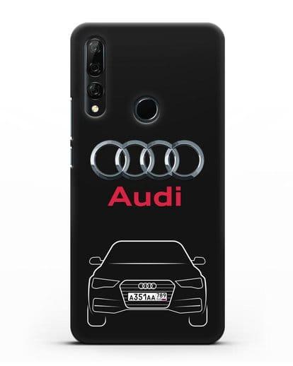 Чехол Audi A4 с номерным знаком силикон черный для Honor 9X