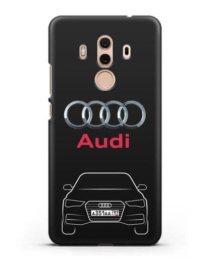 Чехол Audi A4 с номерным знаком силикон черный для Huawei Mate 10 Pro