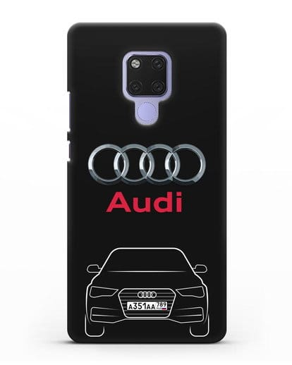 Чехол Audi A4 с номерным знаком силикон черный для Huawei Mate 20X