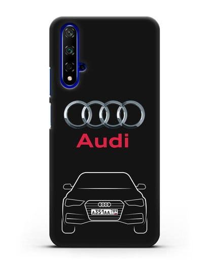 Чехол Audi A4 с номерным знаком силикон черный для Huawei Nova 5T