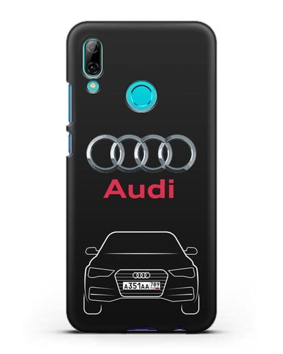 Чехол Audi A4 с номерным знаком силикон черный для Huawei P Smart 2019