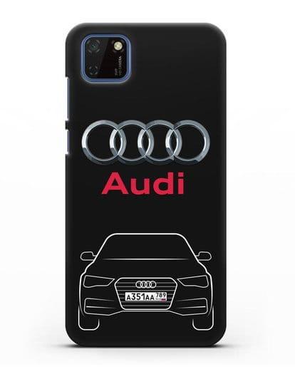 Чехол Audi A4 с номерным знаком силикон черный для Huawei Y5P