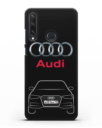 Чехол Audi A4 с номерным знаком силикон черный для Huawei Y6P