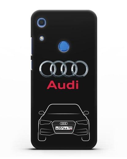 Чехол Audi A4 с номерным знаком силикон черный для Huawei Y6s