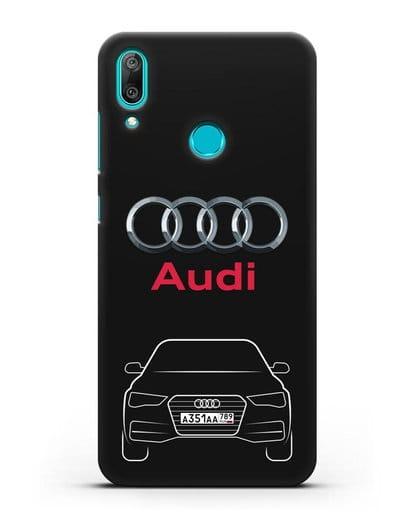 Чехол Audi A4 с номерным знаком силикон черный для Huawei Y7 2019