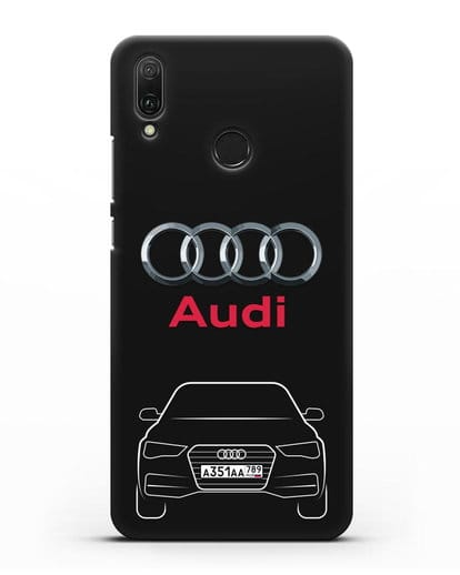 Чехол Audi A4 с номерным знаком силикон черный для Huawei Y9 2019
