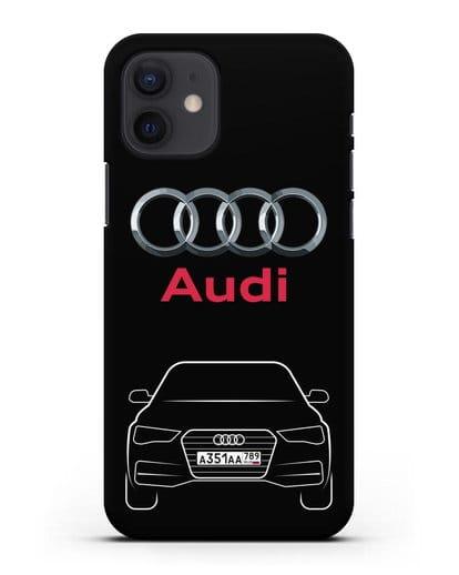 Чехол Audi A4 с номерным знаком силикон черный для iPhone 12