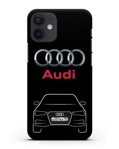 Чехол Audi A4 с номерным знаком силикон черный для iPhone 12 mini