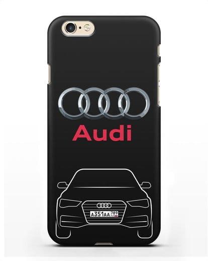 Чехол Audi A4 с номерным знаком силикон черный для iPhone 6