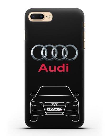 Чехол Audi A4 с номерным знаком силикон черный для iPhone 7 Plus