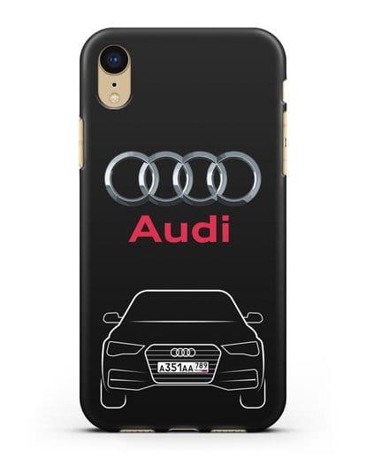 Чехол Audi A4 с номерным знаком силикон черный для iPhone XR