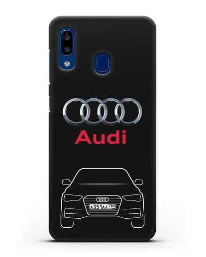 Чехол Audi A4 с номерным знаком силикон черный для Samsung Galaxy A20 [SM-A205FN]