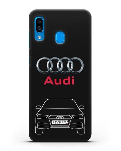 Чехол Audi A4 с номерным знаком силикон черный для Samsung Galaxy A30 [SM-A305FN]