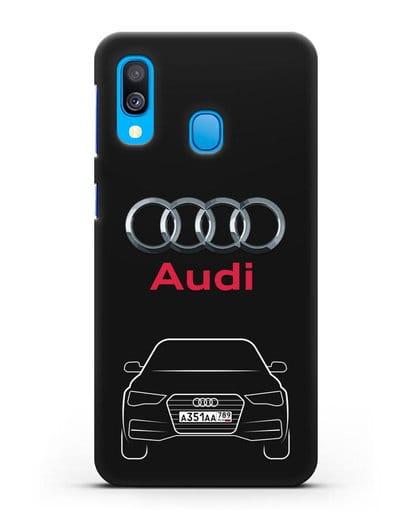 Чехол Audi A4 с номерным знаком силикон черный для Samsung Galaxy A40 [SM-A405F]