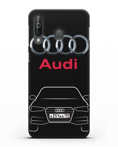Чехол Audi A4 с номерным знаком силикон черный для Samsung Galaxy A40s [SM-A507FN]