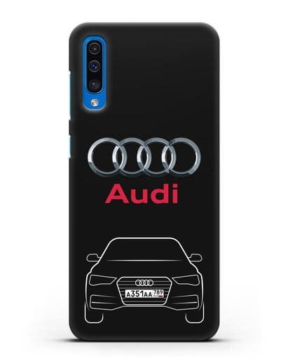 Чехол Audi A4 с номерным знаком силикон черный для Samsung Galaxy A50 [SM-A505F]