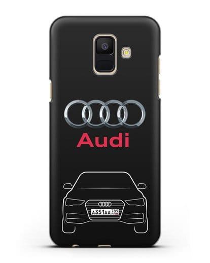 Чехол Audi A4 с номерным знаком силикон черный для Samsung Galaxy A6 2018 [SM-A600F]