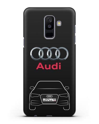Чехол Audi A4 с номерным знаком силикон черный для Samsung Galaxy A6 Plus 2018 [SM-A605F]