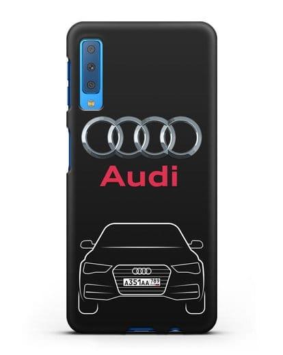 Чехол Audi A4 с номерным знаком силикон черный для Samsung Galaxy A7 2018 [SM-A750F]