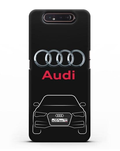 Чехол Audi A4 с номерным знаком силикон черный для Samsung Galaxy A80 [SM-A805F]