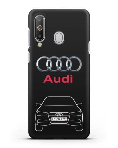 Чехол Audi A4 с номерным знаком силикон черный для Samsung Galaxy A8s [SM-G8870]