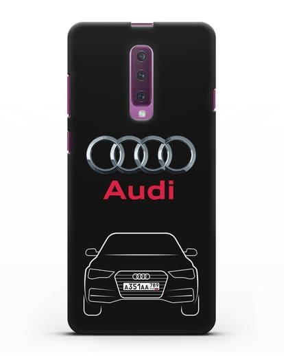Чехол Audi A4 с номерным знаком силикон черный для Samsung Galaxy A90 [SM-A908N]