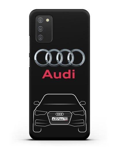 Чехол Audi A4 с номерным знаком силикон черный для Samsung Galaxy A02s [SM-A025F]