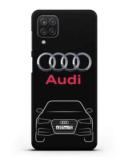Чехол Audi A4 с номерным знаком силикон черный для Samsung Galaxy A12 [SM-A125F]