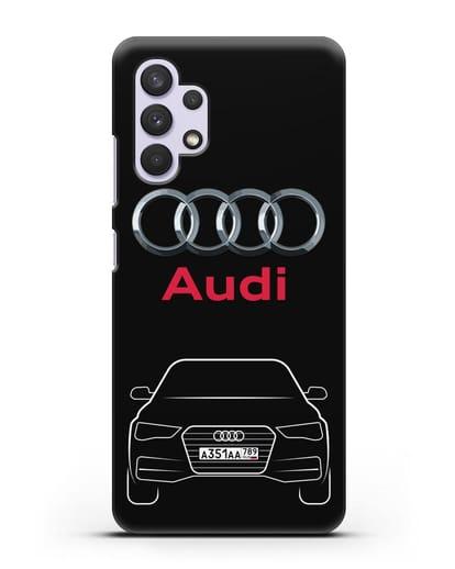 Чехол Audi A4 с номерным знаком силикон черный для Samsung Galaxy A32 5G [SM-A326B]