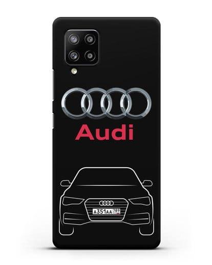 Чехол Audi A4 с номерным знаком силикон черный для Samsung Galaxy A42 [SM-A426B]