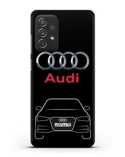 Чехол Audi A4 с номерным знаком силикон черный для Samsung Galaxy A72 [SM-A725F]