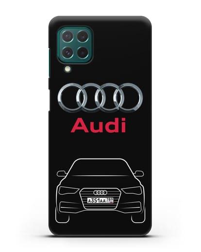 Чехол Audi A4 с номерным знаком силикон черный для Samsung Galaxy M62 [SM-M625F]