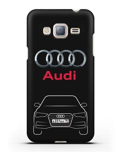Чехол Audi A4 с номерным знаком силикон черный для Samsung Galaxy J3 2016 [SM-J320F]