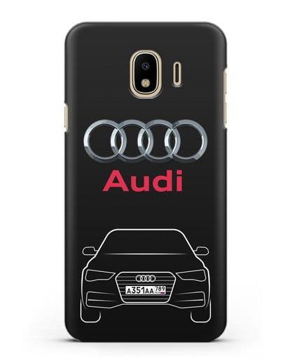 Чехол Audi A4 с номерным знаком силикон черный для Samsung Galaxy J4 2018 [SM-J400F]