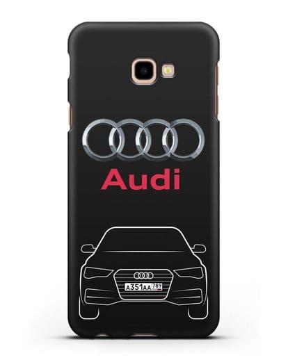 Чехол Audi A4 с номерным знаком силикон черный для Samsung Galaxy J4 Plus [SM-J415]