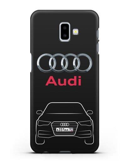 Чехол Audi A4 с номерным знаком силикон черный для Samsung Galaxy J6 Plus [SM-J610F]