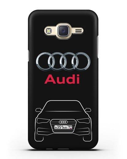 Чехол Audi A4 с номерным знаком силикон черный для Samsung Galaxy J7 2015 [SM-J700H]